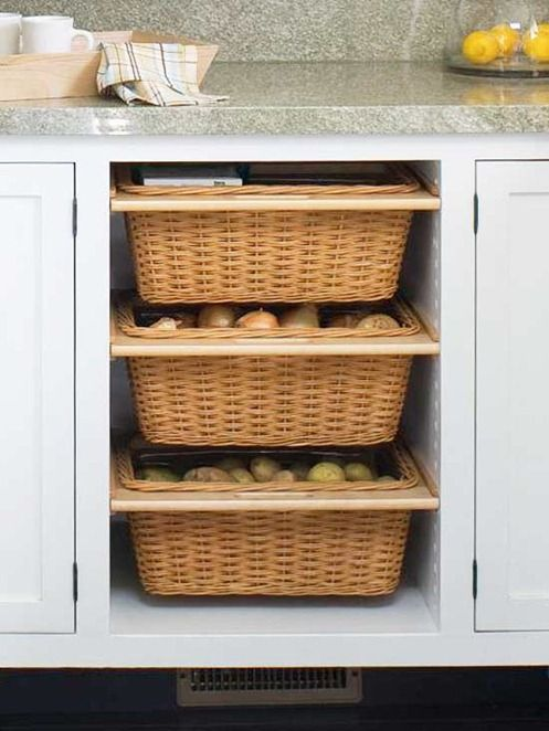 12 Ways to Maximize Kitchen Storage  Multitasking Baskets. Pull out baskets break up a long row of cabinets and introduce another texture while also serving the purpose of storage for frequently used items or food that doesn't require refrigeration.