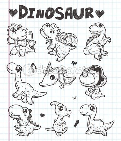 icone di dinosauro Doodle — Illustrazione Stock #29840119