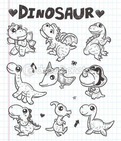 icone di dinosauro Doodle — Illustrazione Stock #29840119