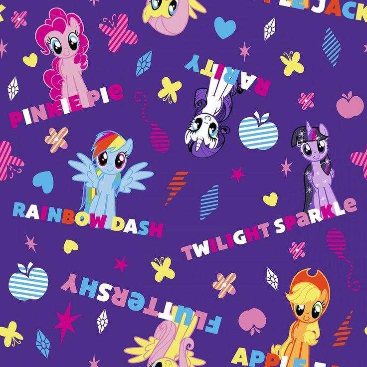 My Little Pony characters and names on purple cotton. This fabric is a quilting weight cotton, perfect for patchwork, quilting, garments, home textiles and general craft use. 100% Cotton. 12 = 3 metres (300cm x 110cm). | eBay!