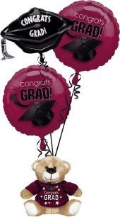 Burgundy Graduation Balloon Bouquet and Teddy - Party City