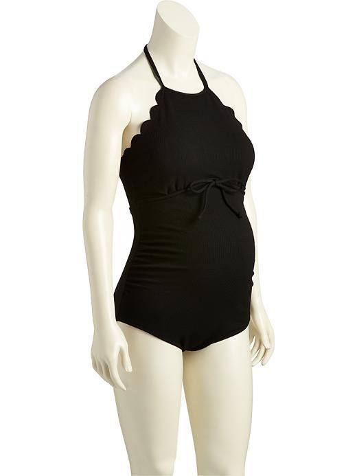 Maternity Scalloped Jacquard Swimsuit