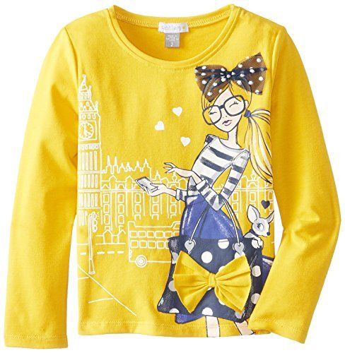 Petit Lem Little Girls' London Style Long Sleeve Top Knit, Mustard, 2. Machine wash cold, tumble dry low. 60 percentage cotton and 35 percentage polyester and 5 percentage spandex. Top. Do not bleach.