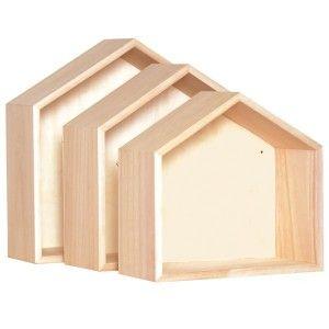 Etagères bois en forme de maison à décorer - La Fabrique du Canari
