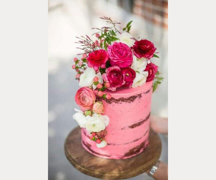 5 Semi-Naked Pink Wedding Cakes We Love
