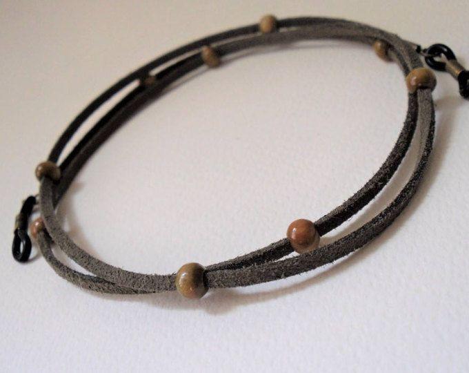 Glasses Lanyard/Greek Olive Wood Beads/Sage Green Lanyard/Soft Lanyards/Womens Lanyards/Eyeglass Lanyards/Sunglasses Strap/Glasses Necklace
