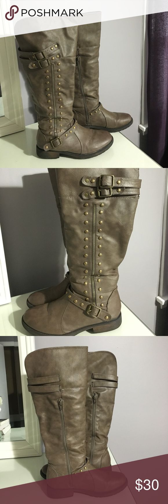 Used Charlotte Russe Boots Used Charlotte Russe (right below the knee) brown (grey undertone) boots with gold detailing. Functional inner calf zipper & outside zipper is for design purposes. Open to all reasonable offers 😊. Charlotte Russe Shoes