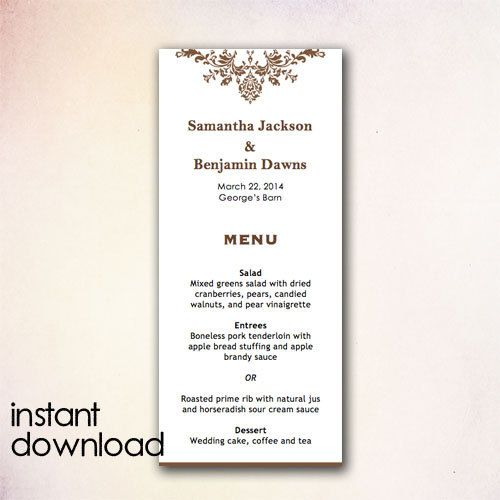 DIY Wedding Menu Template Instant Download by CheapoBride
