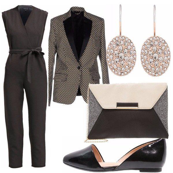 Outfit elegante per una serata o una cerimonia: tuta nera con fiocco e giacca particolarissima, orecchini luminosi, borsa che racchiude tutti i colori e poi...ballerina lucida e comoda.
