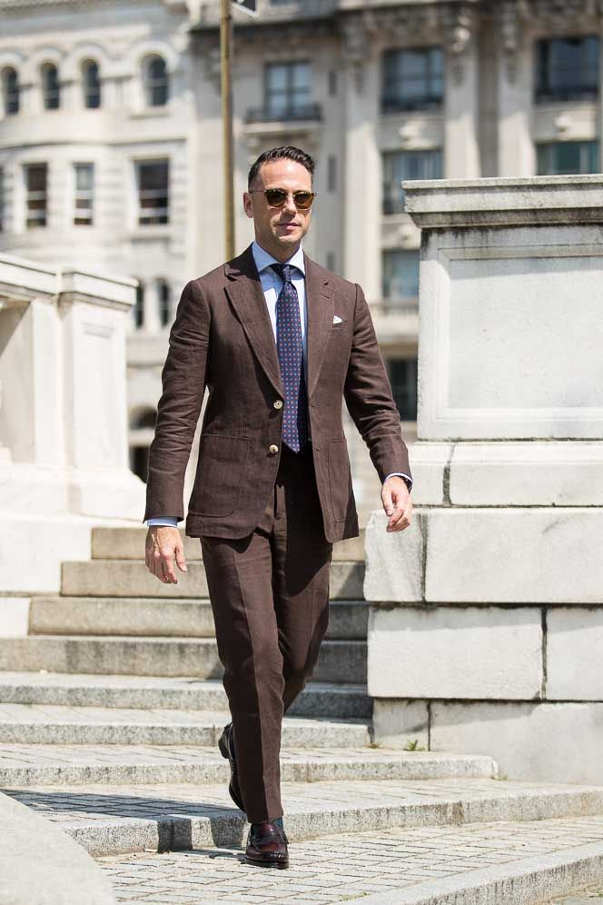 Introducing Summer's Most Underrated Suit  http://hespokestyle.com/chocolate-linen-summer-suit/