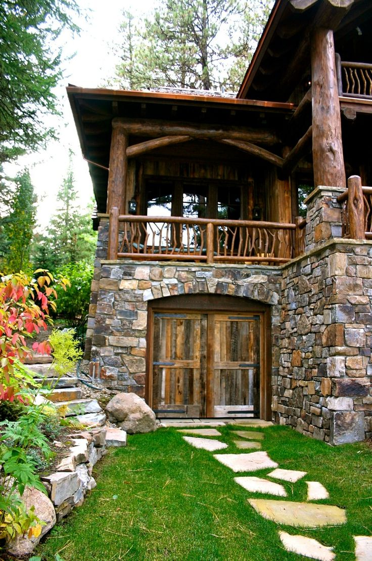 50 best ideas for my back porch images on pinterest for Stone log cabin