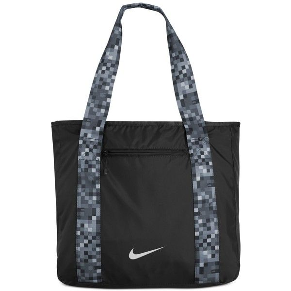 Nike Legend Track Tote Bag ($40) ❤ liked on Polyvore featuring bags, handbags, tote bags, black, beach purse, nike tote bag, nike purse, black handbags and black purse