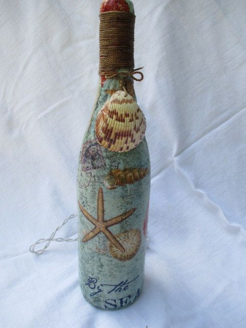 By the Sea Wine Bottle Lamp Repurposed Wine by SalvageSistersMNWI, $20.00