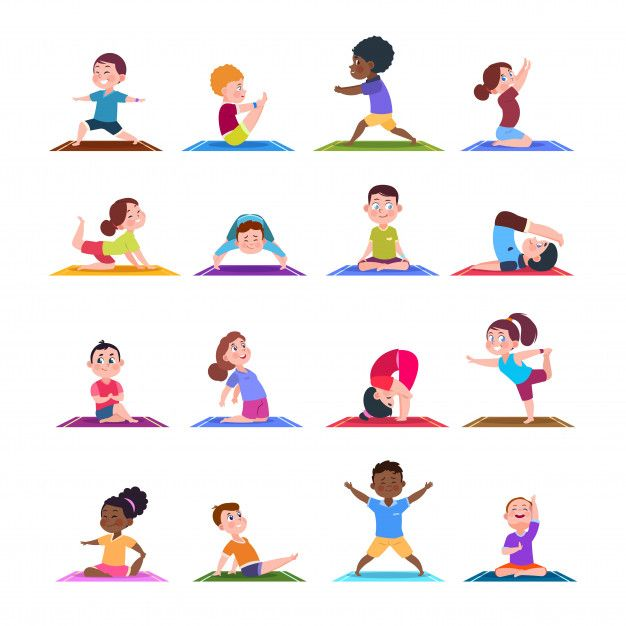 Illustration about Children in yoga poses. Cartoon fitness kids in yoga asana. Illustration of fitness sport yoga pose for child. Illustration of health, character, people - 128229900 Stretches For Kids, Kids Yoga Poses, Cool Yoga Poses, Kid Poses, Yoga For Kids, Exercise For Kids, Yoga Flow, Yoga Inspiration, Yoga Positions