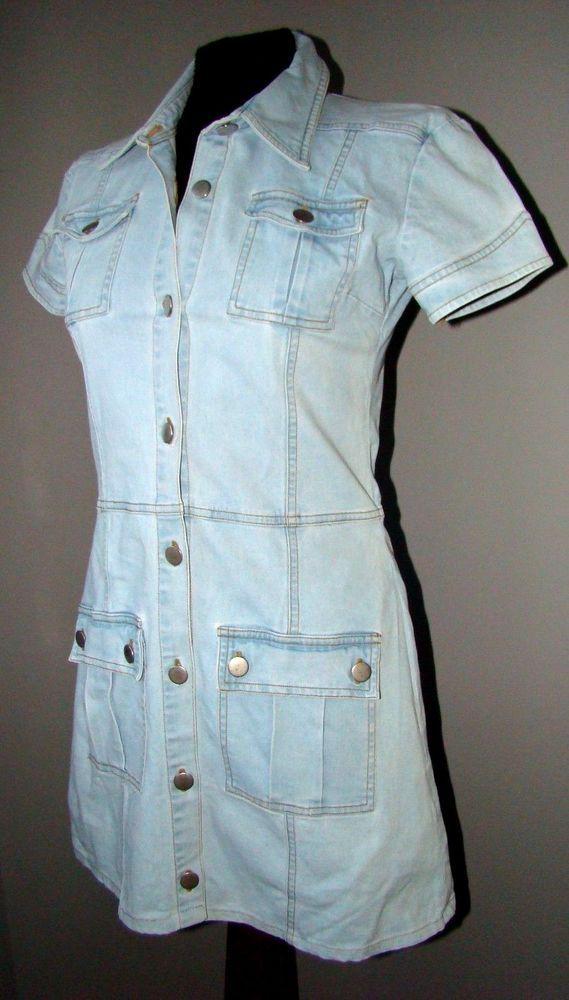 """ABITO vestito denim jeans BLU CHIARO """"H & M"""" dress robe ginocchio manica corta"""