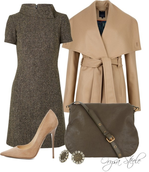 Chic Work Looks We Love - tweed dress, nude pumps and camel coat.