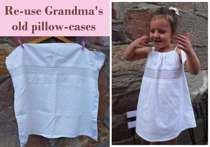 Turning Grandmothers old pillowcases into dresses