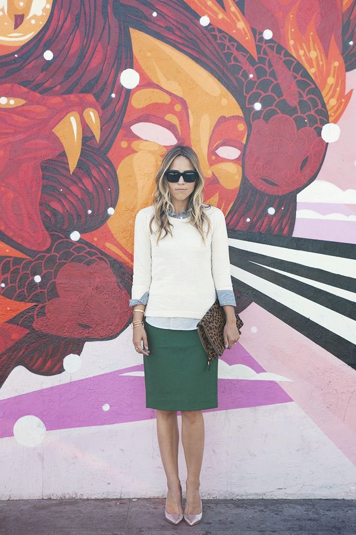 Emerald green pencil skirt/sweater/oxford shirt/clutch, pretty much the most perfect outfit ever!
