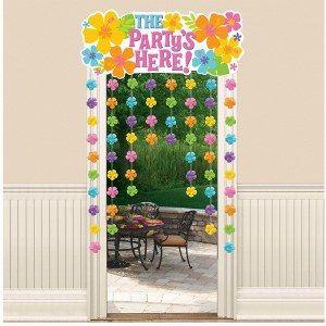 Een prachtige tropische deurdecoratie met Hibiscus bloemen en de tekst The party is here! Lengte: 96.5 <br>x 137cm. foto 1