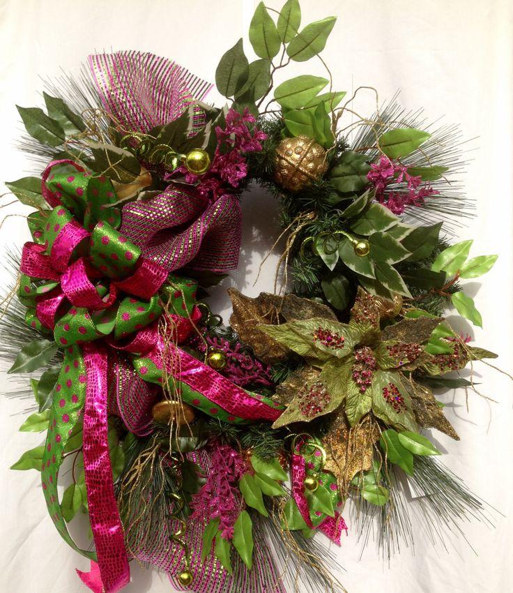 Large Christmas wreath, Christmas door wreath, deco mesh christmas wreath, Fuchsia  Christmas wreath, Christmas decor,  Poinsettia decor by WreathsAndTrends on Etsy https://www.etsy.com/listing/254036272/large-christmas-wreath-christmas-door