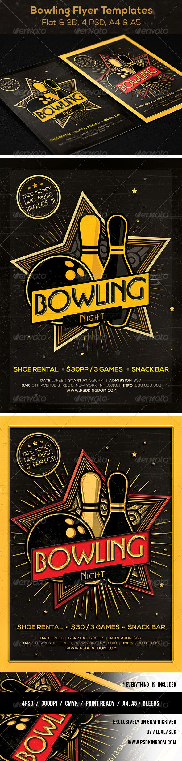 Bowling Magazine Ad, Poster or Flyer - Flat & 3D by Alexlasek Bowling Magazine Ad, Poster or Flyer Templates Flat & 3D 4PSD files:A4 and A5Please dont forget to rate and Follow me please! Des
