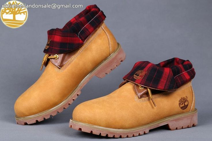 Custom Wheat-Red Prints Earthkeepers Mens Basic Timberland Roll Top Boots $90.99