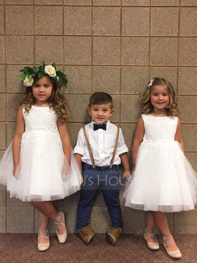 6595b3bb2d358 A-Line/Princess Tea-length Flower Girl Dress - Satin/Tulle Sleeveless Scoop  Neck With Bow(s) (010094047) - JJsHouse