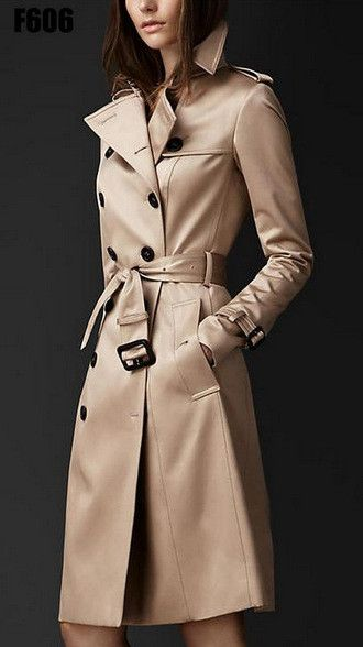 Trench Coat For Women Spring And Autumn Double Button Over Coat Long Plus Size XXL