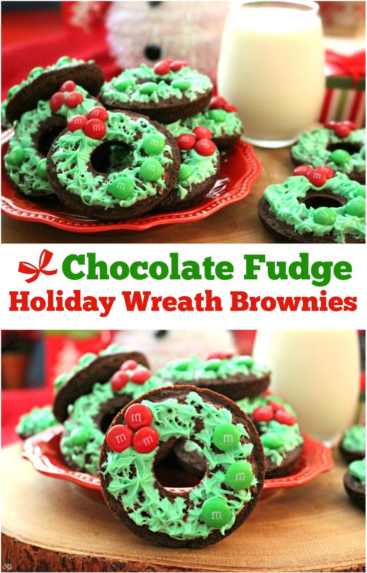 Chocolate fudge holiday wreath brownies are a tasty holiday treat! Check out this easy wreath holiday brownie recipe! #BakeInTheFun w/@walmart  #SweetSquad | ad