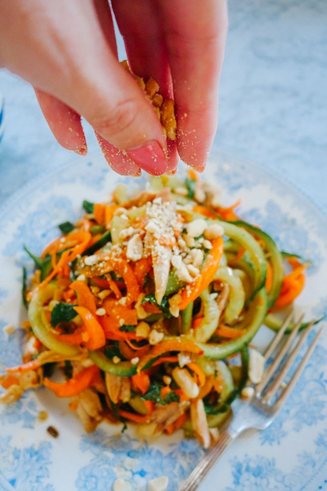"""This is a cracker of a salad! Fresh, crunchy, satisfying with a deliciously sweet/sour/zingy/crazy dressing that will quickly become your new obsession. I used my spirilizer to get the pad thai """"noodley"""" effect, but you could just as easily use a veggie peeler to make ribbons instead. I added left-over roast chicken to mine, but...  Read more"""