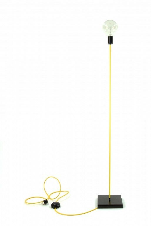 #Stehlampe im #Loft Design mit #farbigem #Textilkabel - Gelb @ http://www.imindesign.de