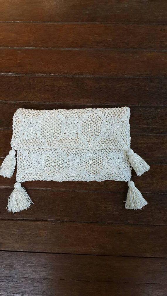 Crochet d'embrayage avec pompon en garniture, embrayage de raphia et de crochet, crochet Bohème embrayage