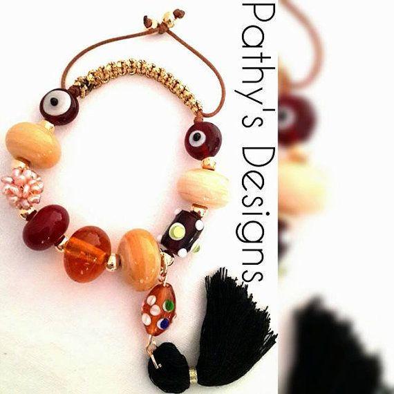 Hand made murano genuine stone beaded bracelet. by PathysDesign