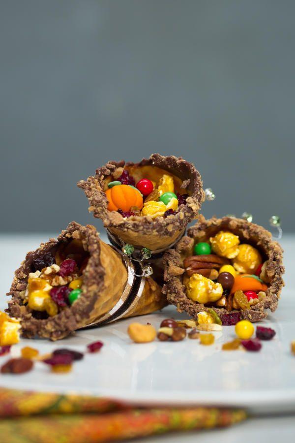 Adorable and Delicious Thanksgiving Treats for Kids: Waffle Cone Cornucopias