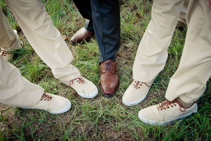 Shannon and Joe: Autumn woodland wedding. Groomsmen in khaki suits and matching tan vans. Groom in charcoal suit with brown leather shoes.