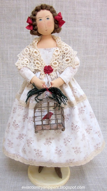 It's all in the details! Pretty Fleurette with her Christmassy decorated enchanting birdcage!   fromEvi 's Country Snippets Shop: THINGS TO DELIGHT