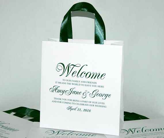 35 Wedding Welcome Bags With Satin Ribbon Handles And Your Names