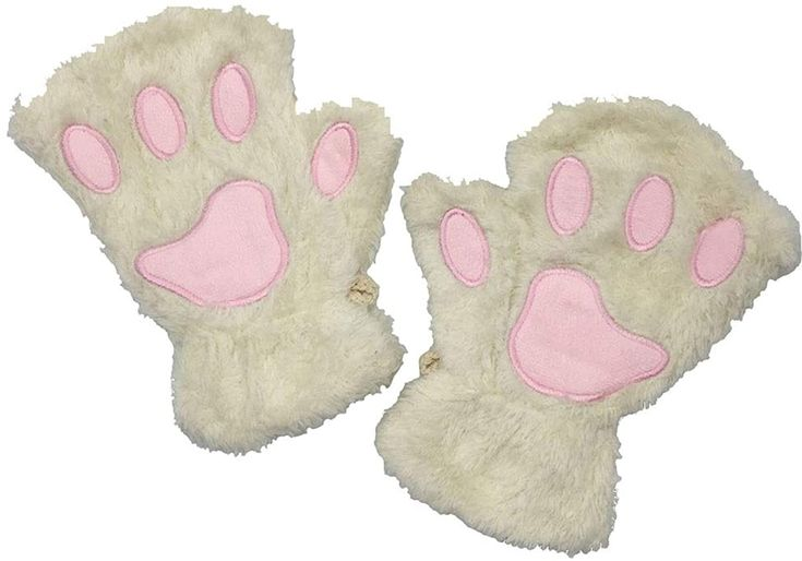 Himine Cat Claw Bear Paw Fingerless Winter Plush Gloves 1Pair Pink