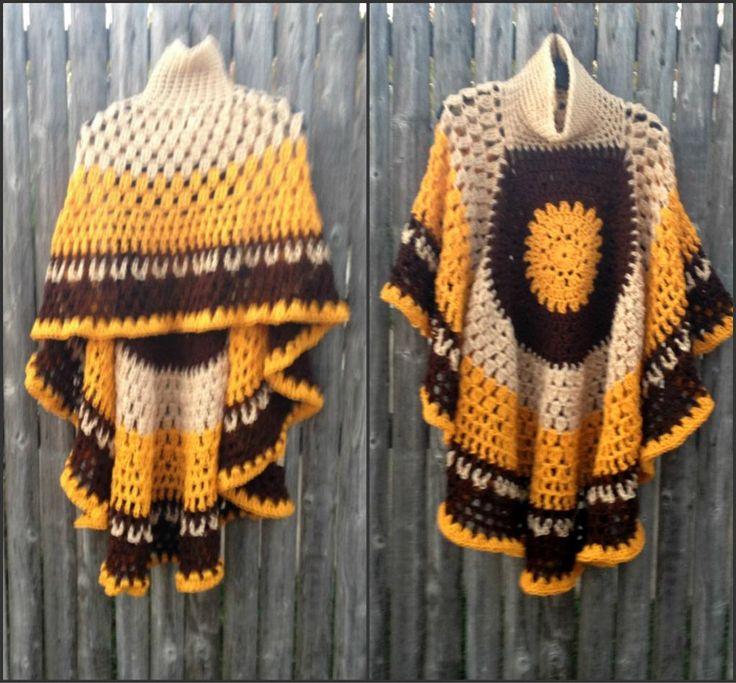 (4) Name: 'Crocheting : Circular Asymmetric Poncho Short Version