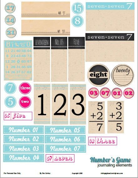 Free Printable Download Number S Game Elements