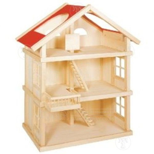 Large Wooden Dolls House: Only £130.00 from Toyday Toyshop. A simple three storey wooden dolls house with easy access. Toyday traditional & classic toys is an old fashioned toy shop on the high street and online. Merchants of traditional and classic toys, Toyday's focus is on good old fashioned customer service & traditional value.