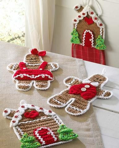 "Design by: Donna Collinsworth Skill Level: Easy Sizes: Hot Pads: about 11"" tall Towel Topper: about 9"" tall (without towel) Materials: Worsted Weight Yarn; For each Gingerbread Girl / Gingerbread Boy"