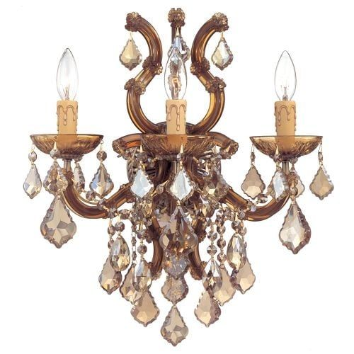 Crystorama Lighting Group 4433-CL Maria Theresa 3 Light 17 Wide Wall Sconce wit (polished chrome / swarovski elements (Polished Chrome/Swarovski Elements))