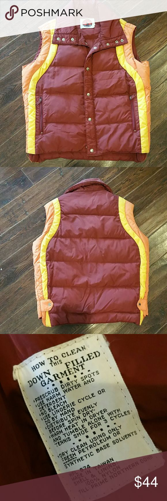 Vintage puffer ski vest / jacket.  XL A nice vintage down filled ski vest jacket in a rust brown and orange and yellow guessing 1970s snap and zippered closure 2 zip pockets on the outside and 2 pockets on the inside she'll and lining nylon and fill is prime northern down 2 tiny holes see photo. Mountain goat Jackets & Coats Puffers