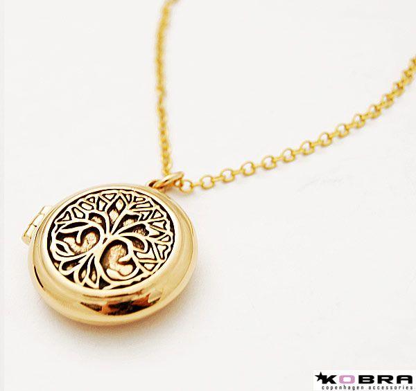 Rund medaljon med Livets Træ i guld, mulighed for personlig gravering