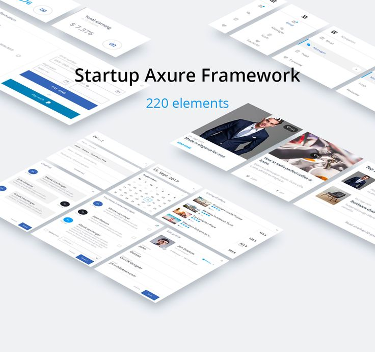 Startup Axure Framework-220 elements.