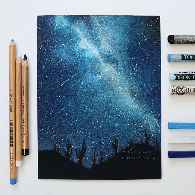 Desert night sky pastel  By Chloe O'Shea