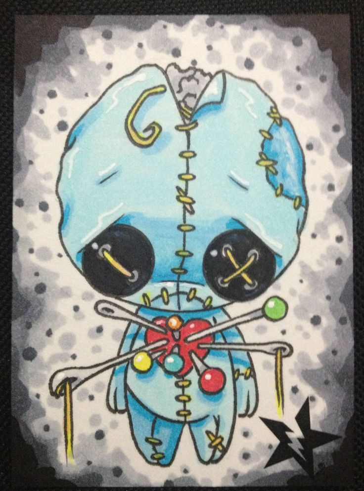 SUGAR FUELED VOODOO DOLL BOY BLUE LOWBROW CREEPY CUTE BIG EYE ACEO MINI PRINT