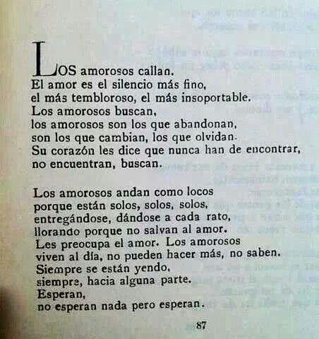 El amor es el silencii mas fino, el mas tembloroso, el mas insoportable...