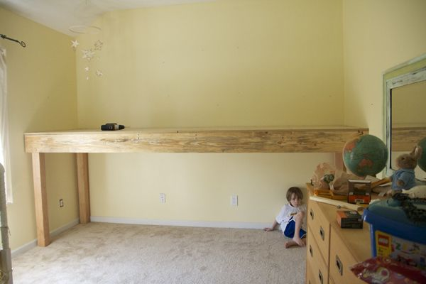 Basic platform for loft bed.  Add plain or decorative railing of your choice.  See website for idea of how to hang curtains.  Lots of possibilities to customize.